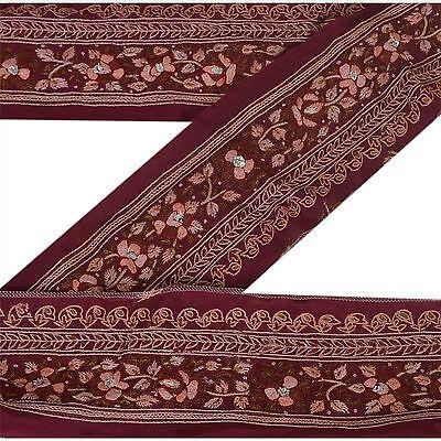 Sanskriti Vintage Dark Red Sari Border Hand Beaded Indian Craft Trim Sewing Lace