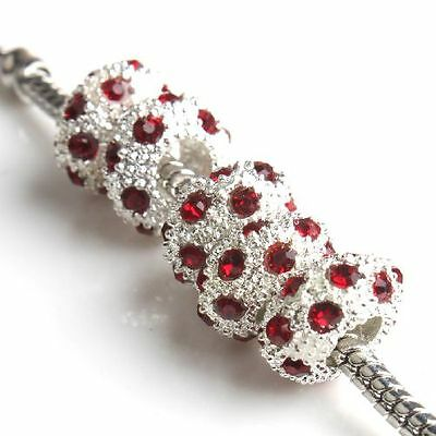 15pcs Red Rhinestones Silvery Oblate Alloy Charms Beads Fit European Bracelets C