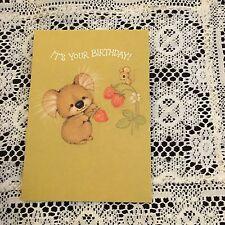 Vintage Greeting Card Birthday Koala Bear Mouse Strawberry
