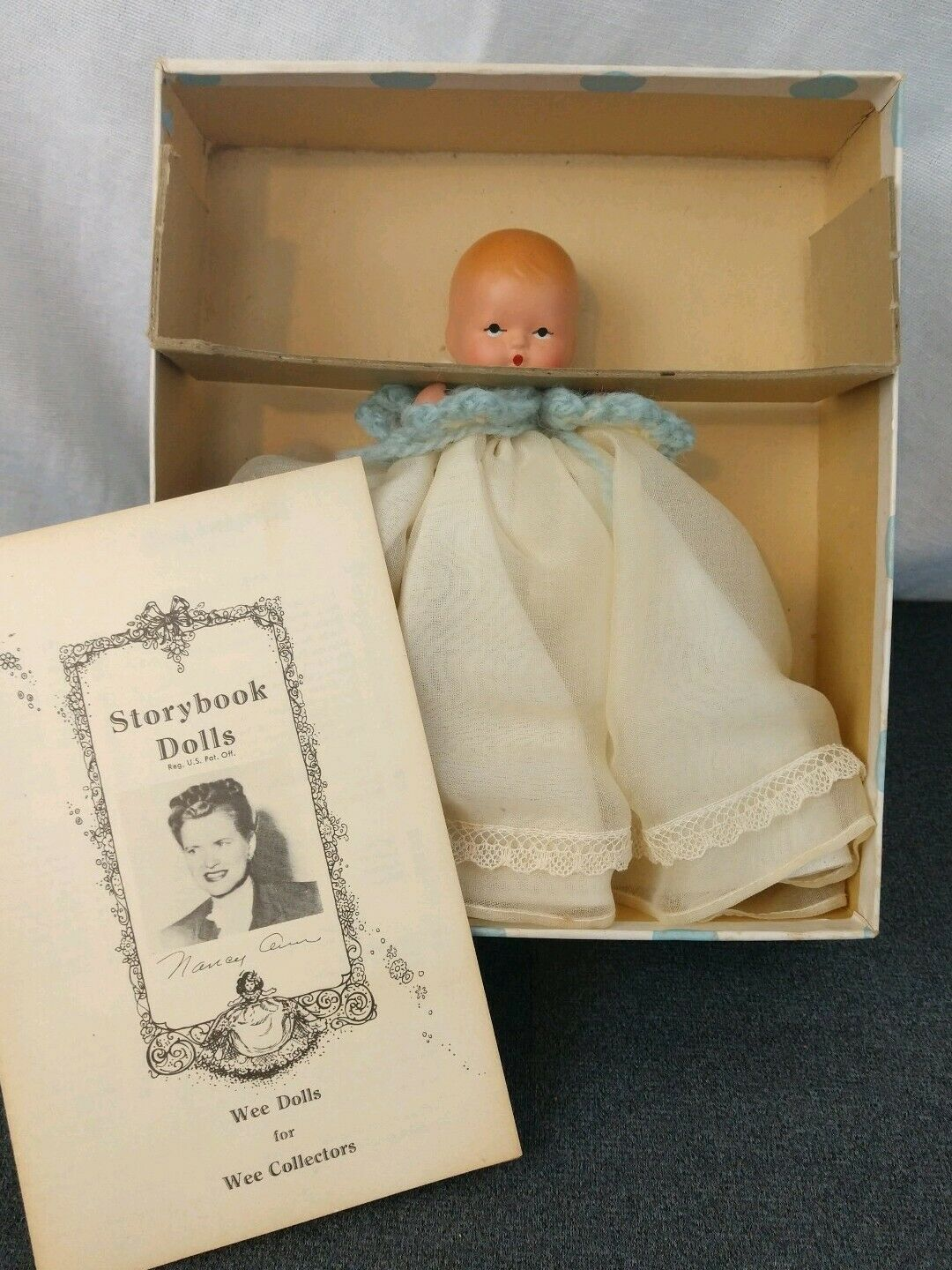 Vintage All Bisque Nancy Ann Story Book Baby Doll Little Miss Lullabye Baby  212