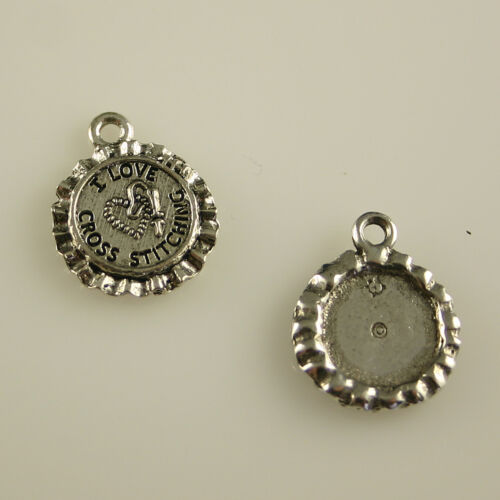 5 Lead Free Antique Silver Tone Pewter Charms I Love Cross Stitching