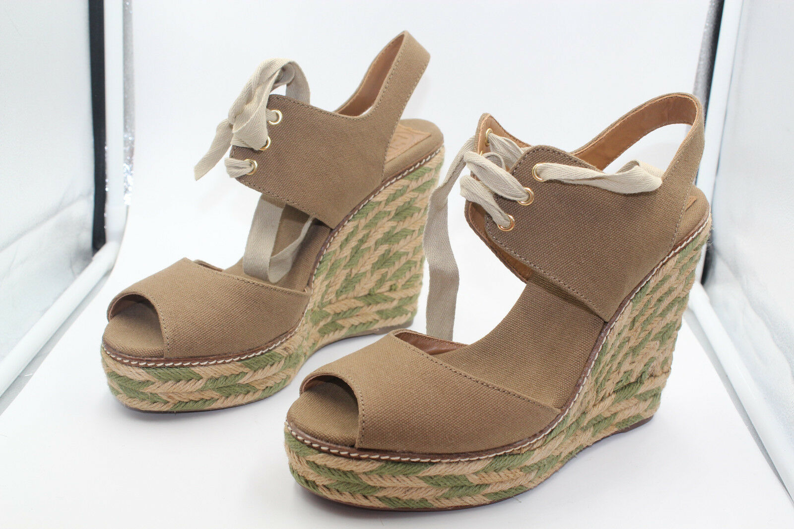 TORY BURCH WEDGE SHOES 12128401 OLIVE 346 LINLEY HIGH ESPADRILLE SIZE 9M