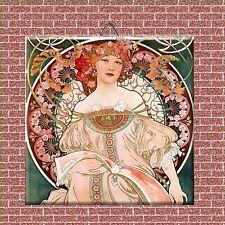 """Art Nouveau Alphonse Mucha Reproduction decorative Ceramic Tile 4.25"""" #1"""