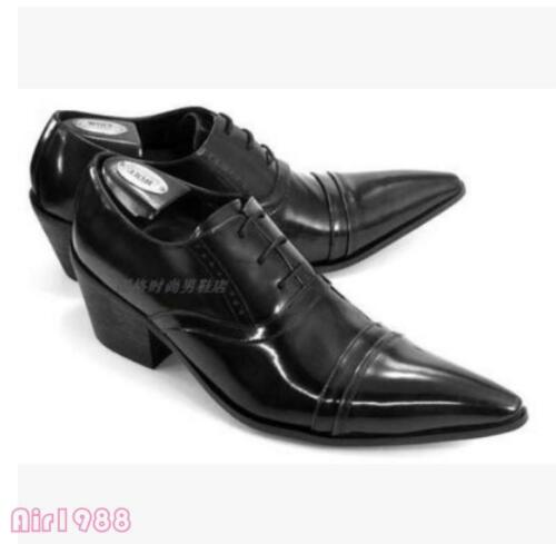 Mens leather Dress Shoes Pointed Toe Cuban Heels Business Lace Up Fashion Shoes