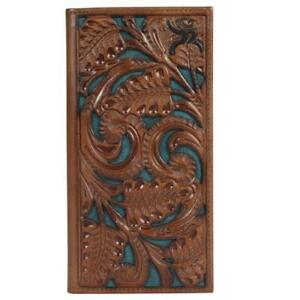 Hooey Mens Roughy Wallet Rodeo Leather Tooled Floral Cutout Logo Brown 1871137W1