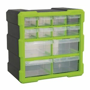 Sealey Hi - Vis Bright Green Black Cabinet Storage Box - Composite Drawers x 12
