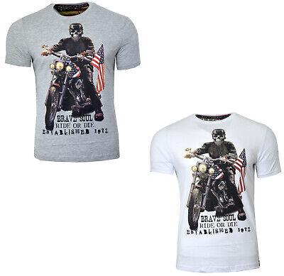 Mens Biker T Shirt Skull Skeleton Usa Ride Or Die Printed Short Sleeve Top