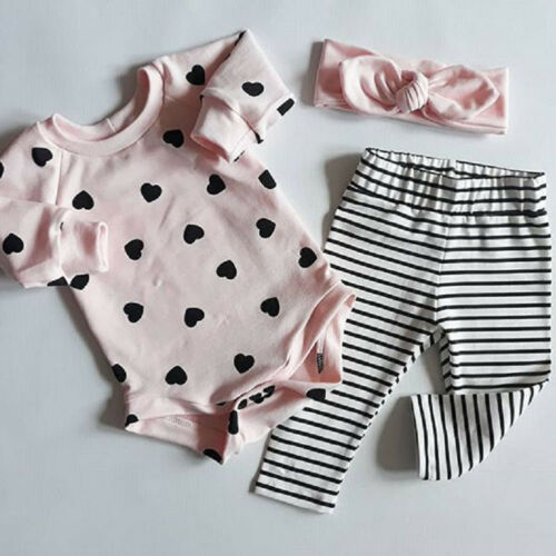 Toddler Kid  Baby Girl Clothes Romper Leggings Headband 3PCS Casual Outfits Set