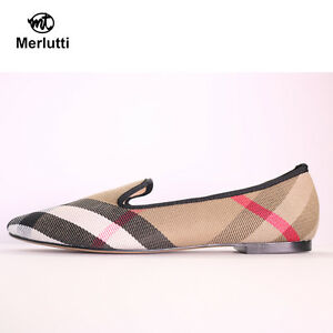 89d0a889a61 Image is loading Merlutti-Women-Plaid-Khaki-Loafers
