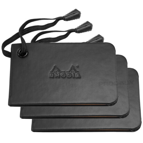Lot de 3 Rhodia Premium Noir bagages ID Nom étiquettes VALISE vacances en cuir synthétique