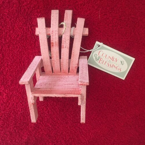 SALEM COLLECTION Country Blessings Wood PINK Adirondack Chair Decoration