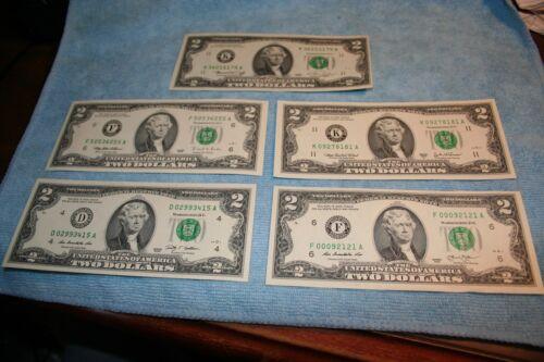 2009 BEP CU AND NEWEST BILL MADE 2013 1995 $2 DOLLAR FRN SET 1976 2003