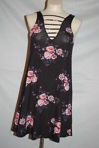 5ed8efde4c Jr Womens BLACK SHIFT DRESS Pink Roses V NECK   BACK Strap Accents ...
