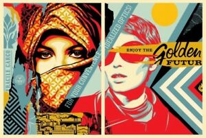 Shepard-Fairey-Obey-GOLDEN-FUTURE-Set-Signed-Numbered-Screen-Prints