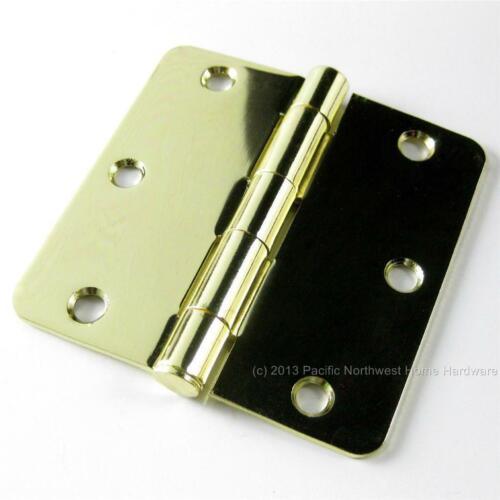 "Polished Brass 3.5/"" x 3.5/"" x 1//4/"" Radius Corner Residential Steel Door Hinge"