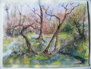 Original-Unsigned-Ink-amp-Watercolour-Painting-Abstract-Trees-15-5-034-x-11-25-034