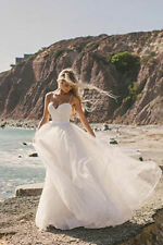 Spaghetti Strap Beach Wedding Dress Simple Long Tulle Bridal Gown- Size 4