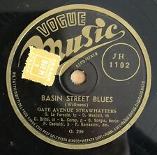 "RARE 78RPM 10"" GATE AVENUE STRAWHATTERS BASIN STREET BLUES VOGUE MUSIC JH 1102"