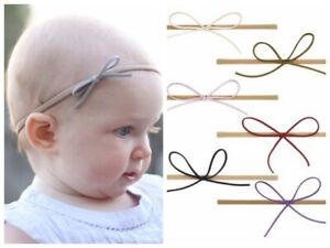 Nylon-Slim-Felt-Bow-Newborn-Baby-Girl-Toddler-Kid-Stretch-Headband-Hairband