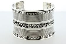 "Sterling Silver 925 Artisan Concave Coil Wide Panel Cuff Bracelet - 7"" (2"" wide)"