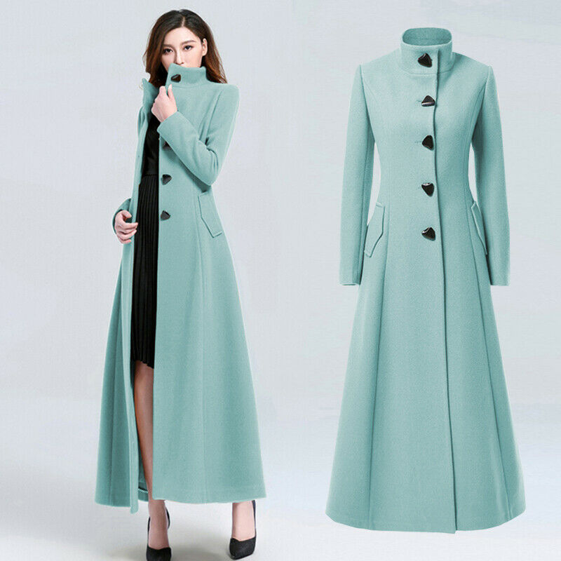 Women's Single Breasted Stand Collar Wool Blend Long Slim Trench Coat Overcoats