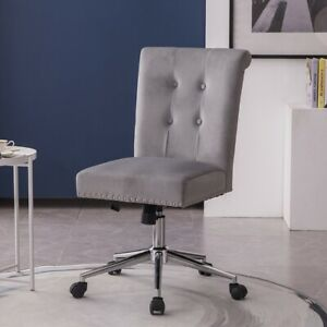 Velvet Tufted Home Office Chair Swivel Armless Mid Back Chair W Pull Button Ebay
