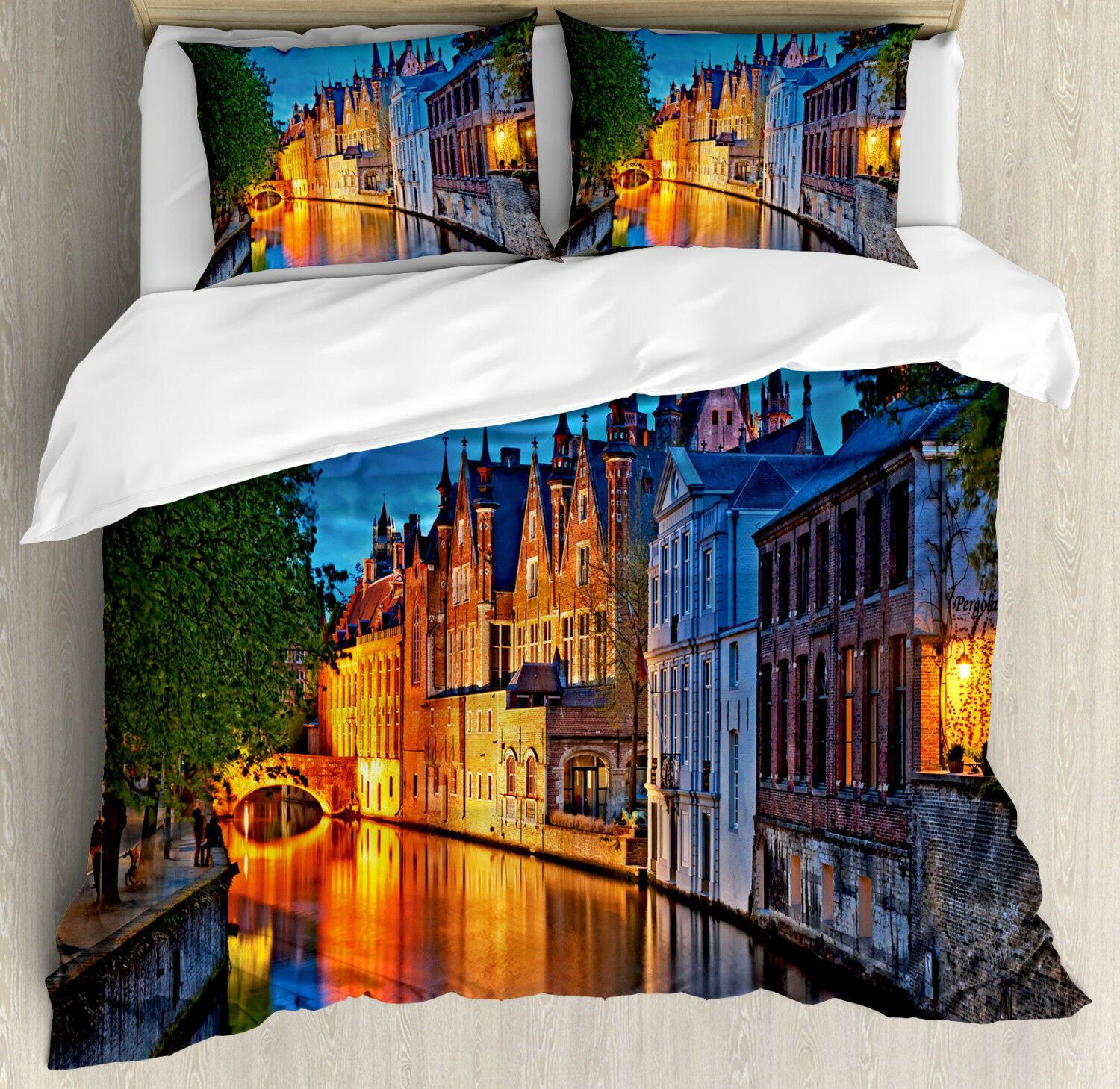 colorful Duvet Cover Set with Pillow Shams Middle Age Building Print