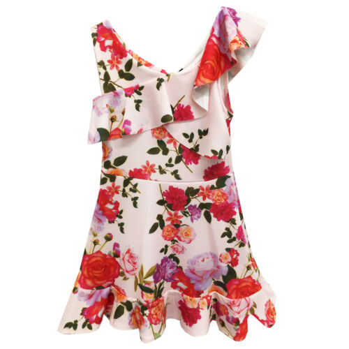 Filles Enfant Neuf Imprimé Floral Été Vacances Robe Âge 5 6 7 8 9 10 11 12