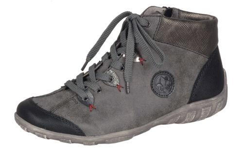 Rieker L6513  Damen Stiefel Stiefelette Schnürschuhe Sneaker grau kombi NEU!