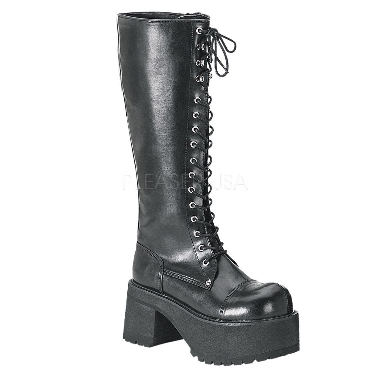 Demonia Ranger-302 Ladies Goth Punk Cosplay Knee Boots Heel Platform