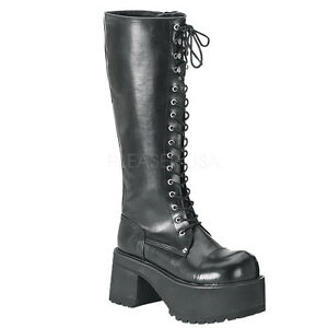 Demonia Ranger-302 Ladies Goth Punk Cosplay Knee Boots Heel Platform