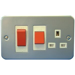 METAL-CLAD-SURFACE-45AMP-COOKER-SWITCH-PLUS-SOCKET-C-W-BACK-BOX