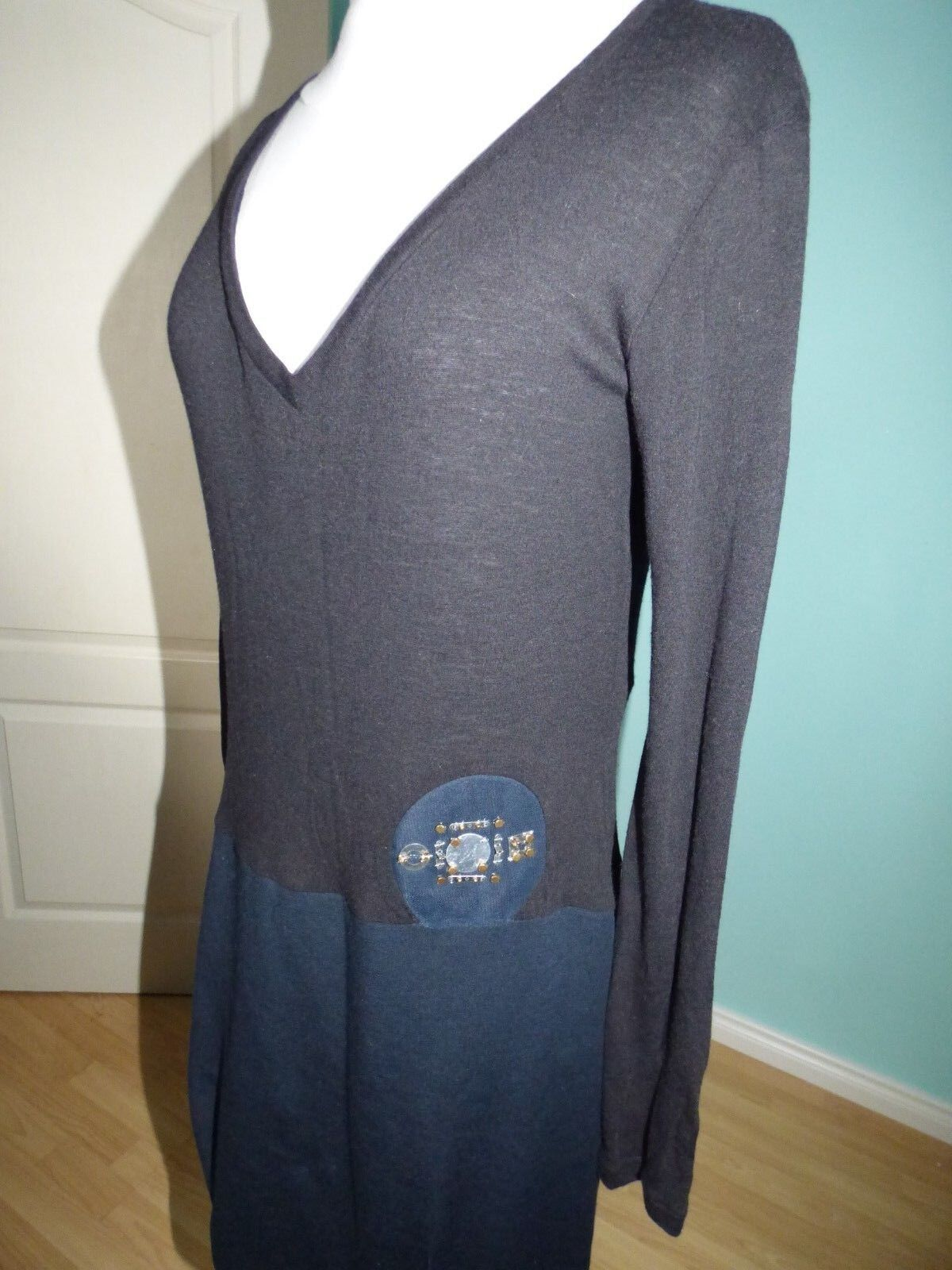Cristiano Burani Italian designer navy schwarz dress Größe M 10 12