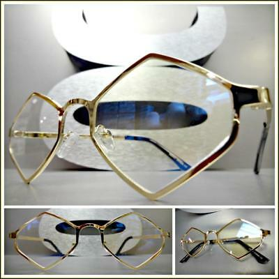 Men or Women VINTAGE RETRO Style Clear Lens EYE GLASSES Hexagon Gold Metal Frame