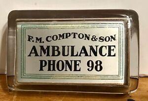F.M. Compton & Son AMBULANCE Paperweight PHONE 98 w MIRROR