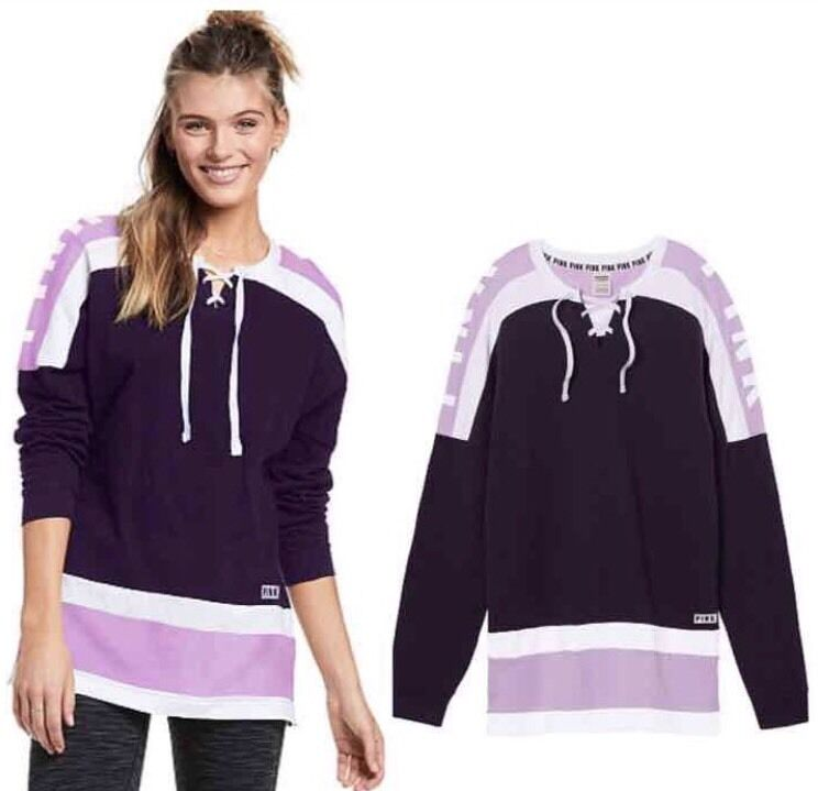 ⭐NEW⭐Victoria's Secret  PINK  Lace-UP Varsity Graphic Crew Purple, Small