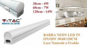 Applique barra neon led t5 on off 220v 30 60 120cm vt 6073 - Neon per cucina ...