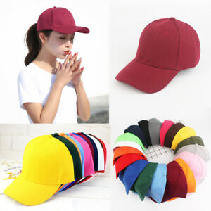 Mens-Womens-Plain-Cap-Style-Cotton-Adjustable-Baseball-Cap-Blank-Solid-Hat