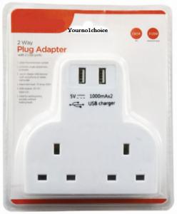2-Way-Gang-Multi-Plug-Extension-With-2-USB-Charge-Ports-Wall-Mains-Adaptor-4-Way