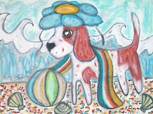 Beagle-at-the-Beach-Dog-Art-Print-Signed-by-Artist-Kimberly-Helgeson-Sams-8x10
