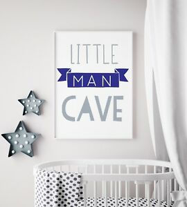 Little-Man-Cave-Banner-Navy-amp-Grey-Nursery-Print-Kids-Bed-Boys-Wall-Art-Picture