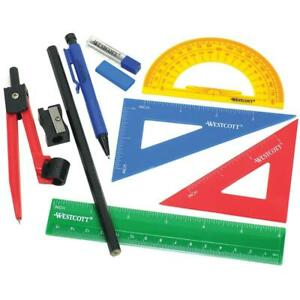 SCHOOL-SUPPLIES-10-PC-Math-Set-Westcott-Metal-Compass-Protractor-Ruler-Triangle