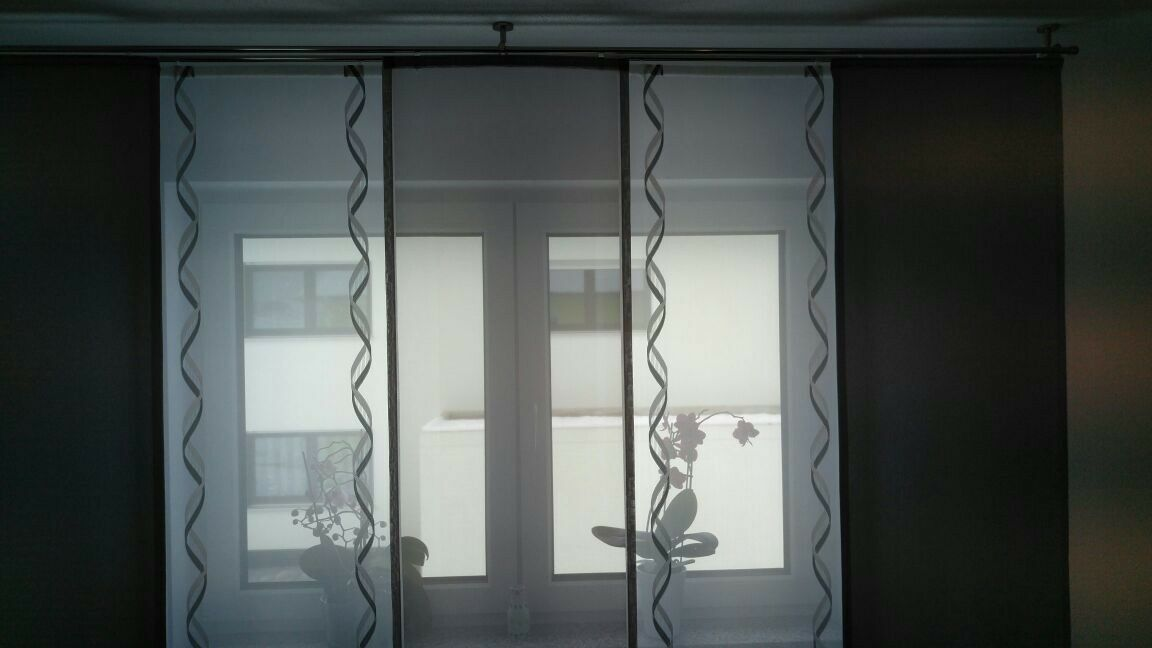 Gardine Grau ,weiß.mit Paneelwagen   gardinen gardinen gardinen set Nr.162 e87f93