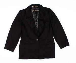 Vintage-Escada-Black-Wool-Cashmere-Structured-Blazer-Jacket-Size-38-US-8