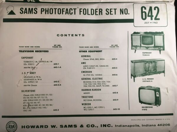 Sams Photofact Folder Set No. 642, 1963, Schematics & Service Manuals Shrink-Proof