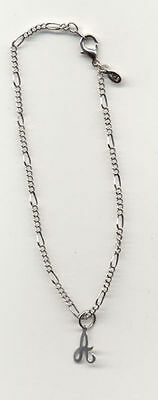 """Anklets Aspiring 9.5"""" 14kt White Gold Ep 2mm Figaro Anklet With Small Initial"""