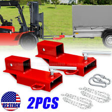 2x Clamp On 2 Forklift Hitch Receiver Pallet Fork Trailer Towing Adapter Chain