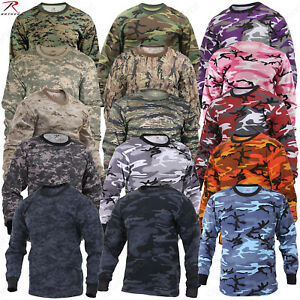 0e438ad9 Image is loading Rothco-Long-Sleeve-Camo-T-Shirts-Military-Style-