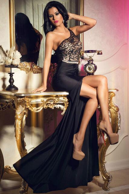 Abito lungo aperto spacco nudo aderente Ricamo Maxi Lace Slit Party Gown  Dress 249d441490a