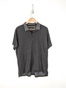 Rag-amp-Bone-Polo-Shirt-Men-XL-Gray-Striped-Cotton-New-York-Casual